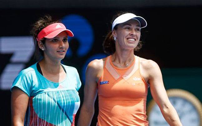 Sania Mirza (left) and Martina Hingis