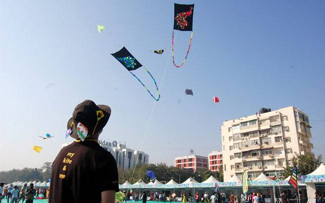 A kite flyer from Australia lets his kite find its place among the others. Picture courtesy: Samonway Duttagupta