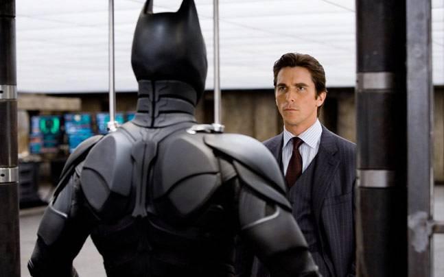 Christian Bale in a still from Batman Begins