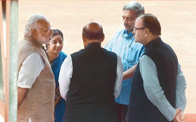 PM Modi with BJP top brass