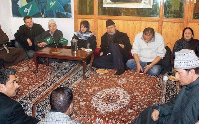 PDP president Mehbooba Mufti along with other senior party leaders at a meeting.