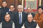 Arun Jaitley with his team gives the final touch to the Union Budget