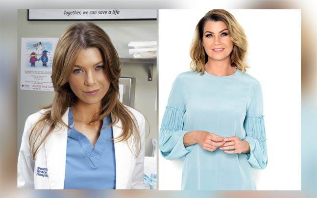 Ellen Pompeo (right) and Meredith Grey. Pictures courtesy: Twitter/@GreysABC