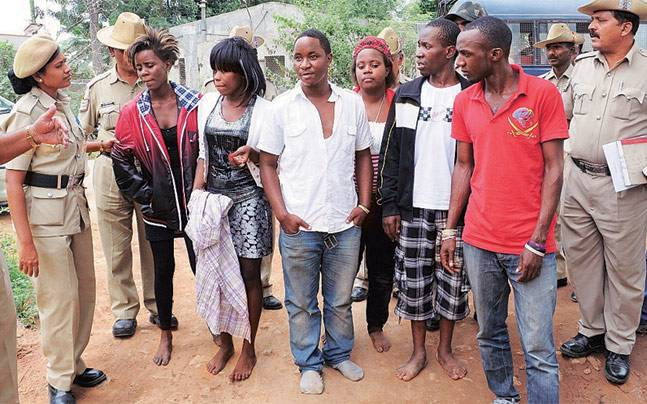 A file photo of African students who were arrested in 2011 for assaulting policemen in Bengaluru.