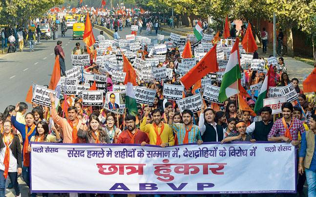 ABVP members take out a march