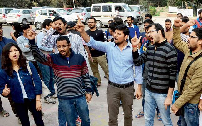 ABVP activists on JNU campus