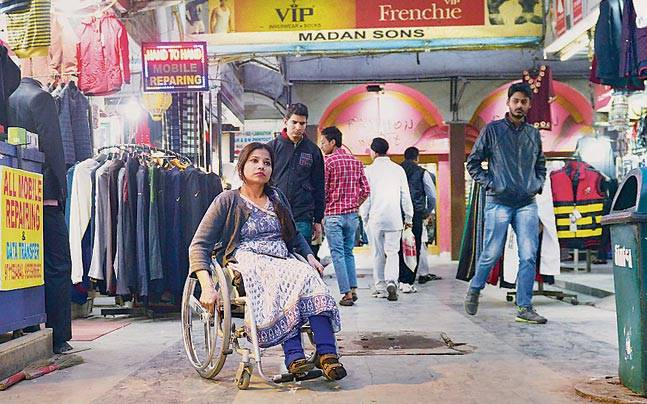 International para-athlete Suvarna Raj (above) at the New Friends Colony market. Suvarna feels more needs to be done to make Delhi's markets disabled-friendly.