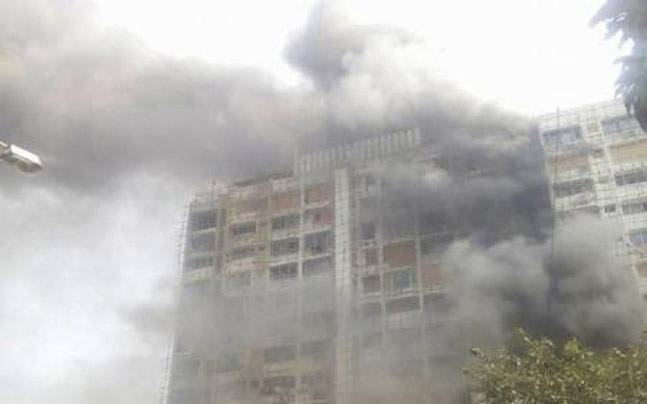 A major fire broke out on the third floor of a high-rise residential building in south Mumbai