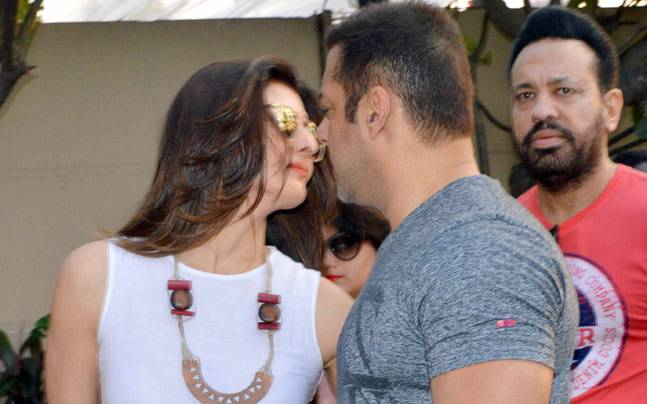 Sangeeta Bijlani and Salman Khan at Arpita Khan Sharma's baby shower. Photo: Yogen Shah