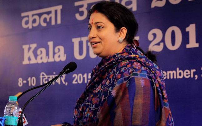 HRD Minister Smriti Irani speaks in the Rajya Sabha in New Delhi on Thursday.