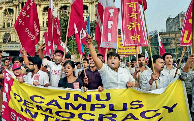Activists take out a protest rally condemning the arrest of Kanhaiya Kumar, in Kolkata.