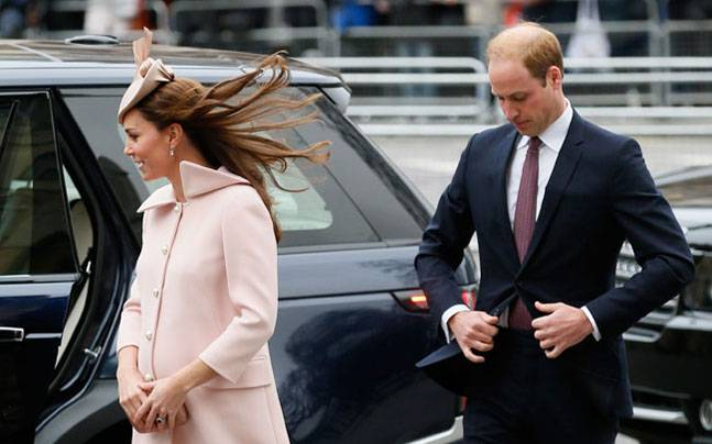 Britain's Prince William with his wife Kate