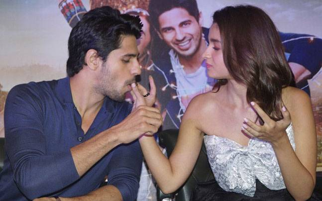Sidharth Malhotra and Alia Bhatt during the promotions of Kapoor And Sons in Delhi