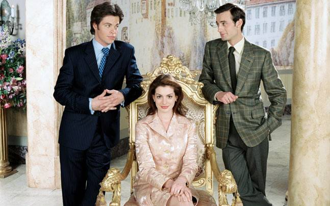 Chris Pine, Anne Hathaway and Callum Blue in a still from The Princess Diaries 2