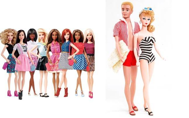 Barbie in early 1960s, and the Barbies in 2015. Picture courtesy: Mattel