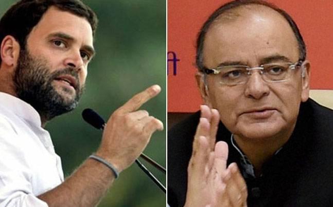 Rahul Gandhi (L) and Arun Jaitley (R)