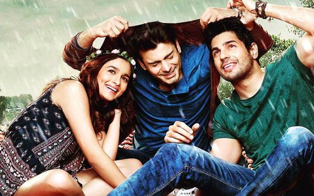 Alia Bhatt, Fawad Khan and Sidharth Malhotra in a poster of Kapoor And Sons