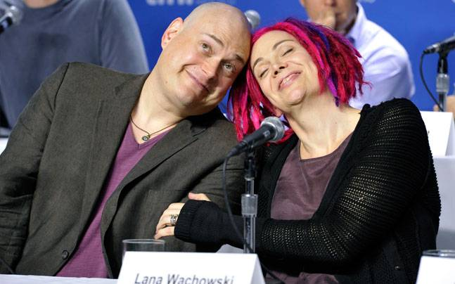 Andy, now Lilly Wachowski (L); with Lana Wachowski, earlier Larry
