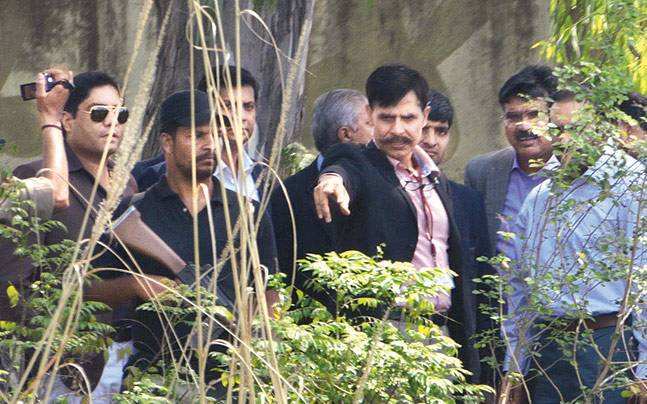 Pakistani team during their investigation in Pathankot on Tuesday.