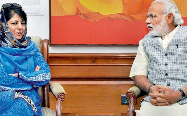 PM Modi with PDP leader Mehbooba Mufti