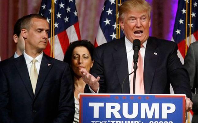 Donald Trump with his campaign manager Corey Lewandowski