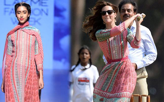 Anita Dongre's original dress, and the dress Kate wore in India. Pictures courtesy: Anita Dongre/Pinterest