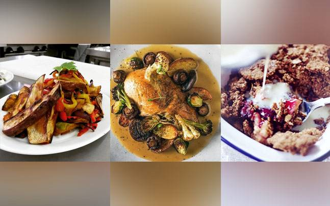 Get dinner sorted with a roast veg salad, spicy roast chicken and baked fruit crumble. Photos courtesy: Instagram/tommy_awesome3/cookandnelson/tashianax
