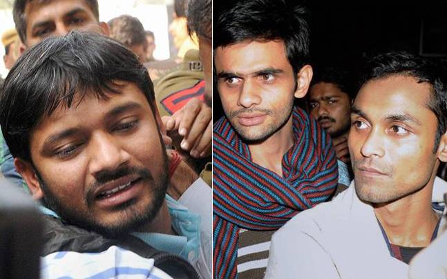 (From left) Kanhaiya Kumar, Umar Khalid and Anirban Bhattacharya. Photo: PTI
