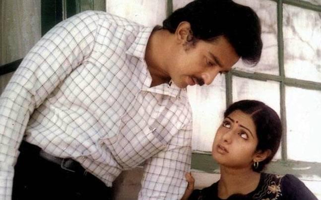 Kamal Haasan with Sridevi in a still from Sadma