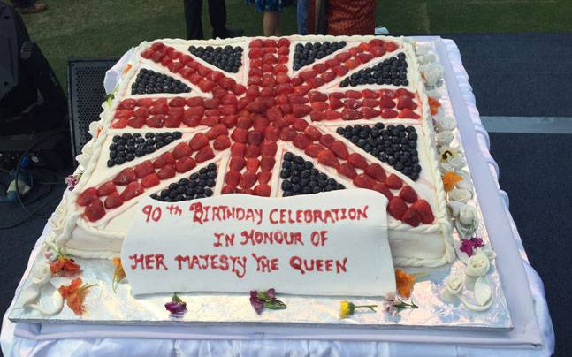 The summer fruit vanilla cake which was cut in honour of the Queen's 90th birthday by Prince William, Duke of Cambridge and Catherine, Dutchess of Cambridge, in Delhi.