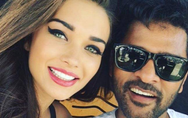 Amy Jackson with Prabhudheva on the sets of AL Vijay's film