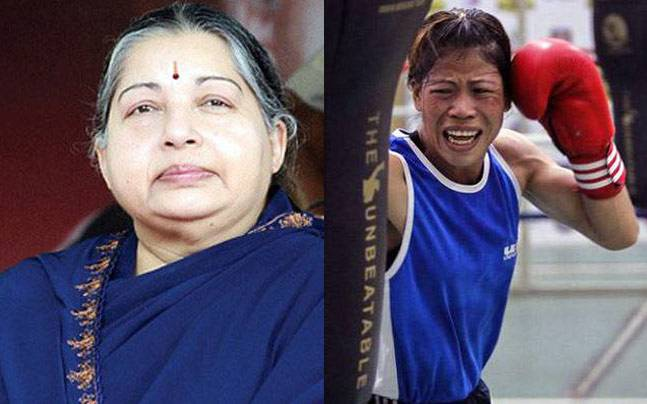 Jayalalithaa (left), Mary Kom