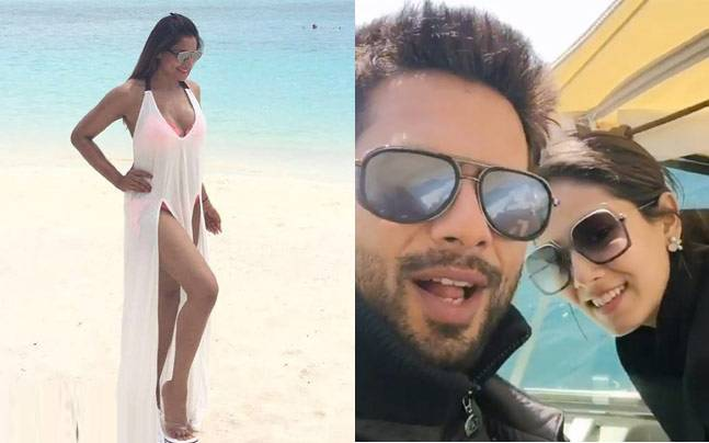 Bipasha Basu (left) and Shahid Kapoor and Mira Rajput (right) in Maldives. Picture courtesy: Instagram