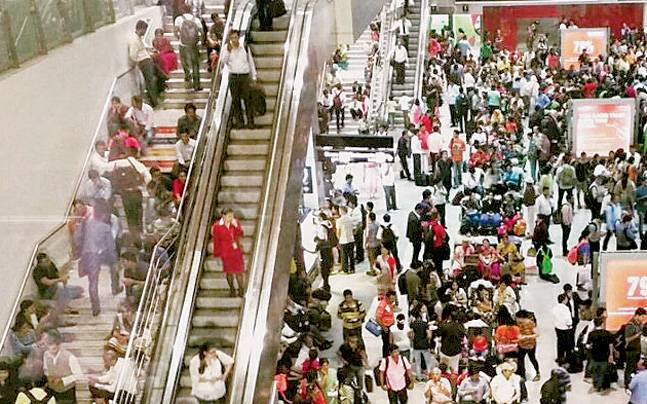 A large number of stranded passengers at the IGI airport on Monday night