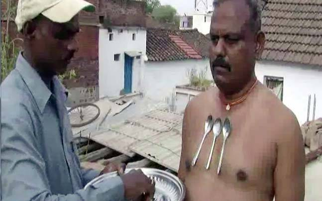 magnetic man indian man attracts spoons and nails fyi news