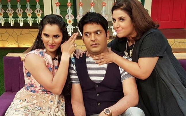 Laughter riot: Kapil Sharma, Farah Khan and Sania Mirza shoot for The Kapil Sharma Show. Picture courtesy: Twitter/Sania Mirza