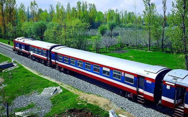 A train in the outskirts of Baramulla. Picture courtesy: Facebook/Visit Kashmir