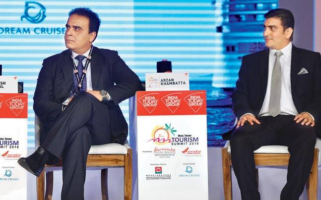 (From left) Vishal Sinha, Naresh Rawal and Arzan Khambatta at the Mail Today Tourism Summit 2016 in New Delhi on Tuesday.