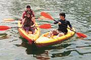 Tourists enjoying Kayaking in Naukuchiatal, which is also called the 'lake of nine corners', in Uttarakhand. Picture courtesy: Mail Today