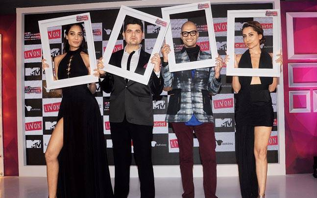 Lisa Haydon at the recent launch of the new season of India's Next Top Model in Mumbai with (from left) Daboo Ratnani, Neeraj Gaba and Anusha Dandekar.