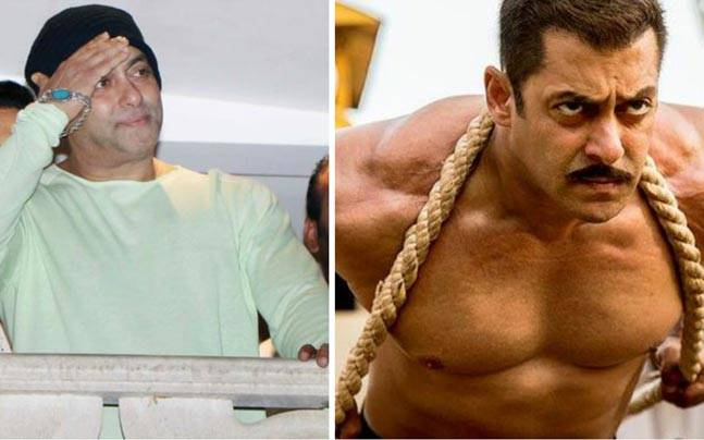 Left: Salman Khan in his apartment on Eid this year, Right: Salman Khan in a still from Sultan