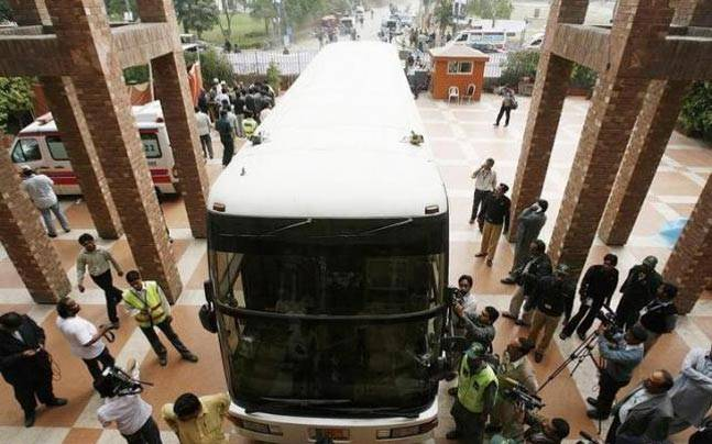 Sri Lankan team bus that was attacked by terrorists in 2009