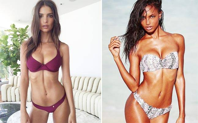 Jasmine Tookes and Emily Ratajkowski's 'ab cracks'. Pictures courtesy:Instagram/@emrata; Instagram/@jastookes