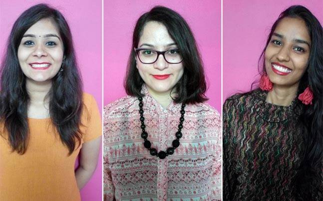 India Today Digital staffers Mini Dixit (left), Meghna Kriplani (centre), and Hemul Goel (right) try out three bold shades of red in a bid to find to find the perfect red lipstick.