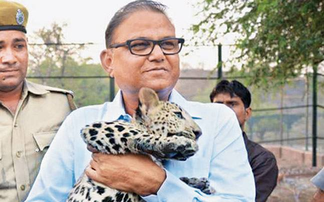 Mahendra Bhardwaj, media advisor to Chief Minister Vasundhara Raje, had posted a picture of him with a leopard cub on WhatsApp.