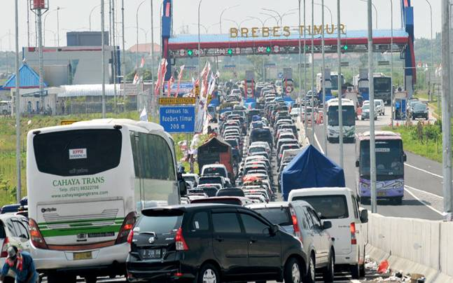 Heavy traffic congestion at a major highway junction in Brebes, Java, Indonesia. AFP