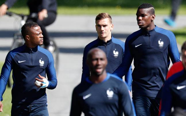 Antoine Griezmann, Paul Pogba and Patrice Evra