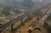 Heavy downpour turns Gurgaon roads into rivers, traffic comes to a standstill