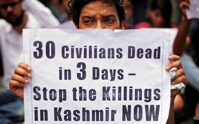 While the meeting was on, Kashmir continued to remain under curfew for the 13th day. PHOTO: REUTERS