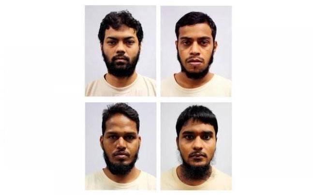 From L-R, Rahman Mizanur, Miah Rubel, Md Jabath Kysar Haje Norul Islam Sowdagar, and Sohel Hawlader Ismail Hawlader (PHOTO: REUTERS)